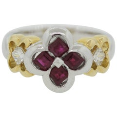 Ruby Diamond Platinum and Gold Floral Ring