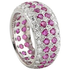 Ruby Diamond Platinum Band Ring