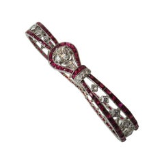 Ruby Diamond Platinum Bracelet