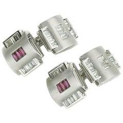 Ruby and Diamond Platinum Cufflinks