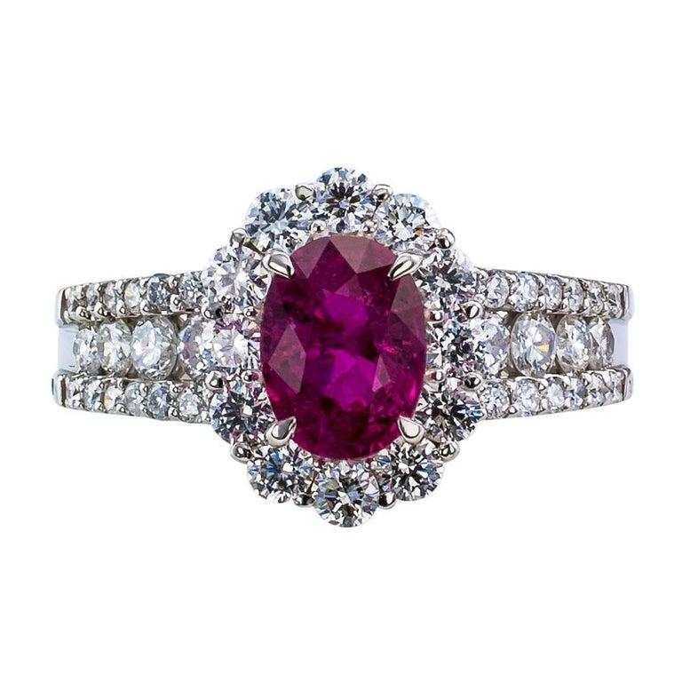 Ruby Diamond Platinum Engagement Ring