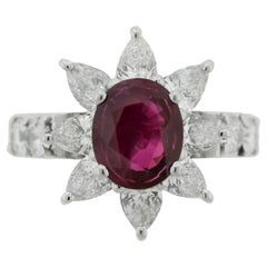Ruby Diamond Platinum Flower Ring, GIA Certified