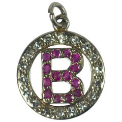 Ruby Diamond Platinum Letter B Circle Charm