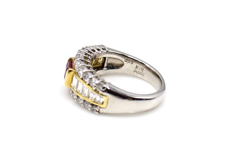 Contemporary Ruby Diamond Platinum Ring and 18 Karat Yellow Gold Ring For Sale