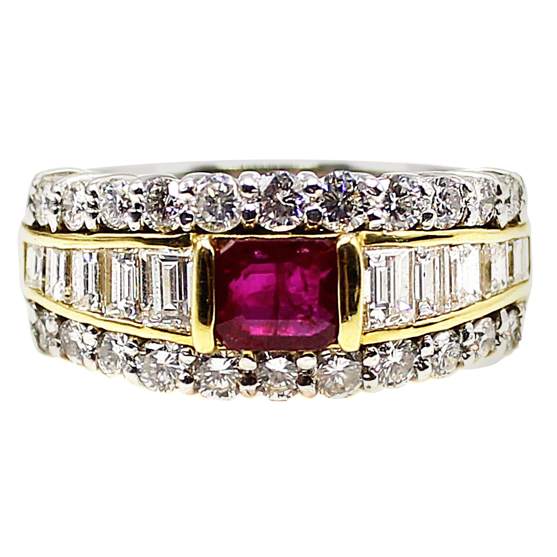 Ruby Diamond Platinum Ring and 18 Karat Yellow Gold Ring