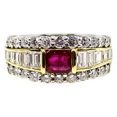 Ruby Diamond Platinum Ring and 18 Karat Yellow Gold Ring