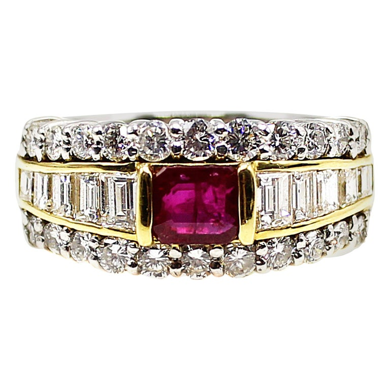 Ruby Diamond Platinum Ring and 18 Karat Yellow Gold Ring For Sale
