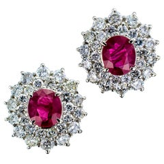 Ruby Diamond Platinum Stud Earrings