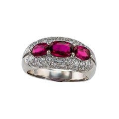 Ruby Diamond Platinum Three Stone Ring