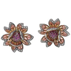 Ruby Diamond Plique á Jour Enamel Gold Flower Earrings