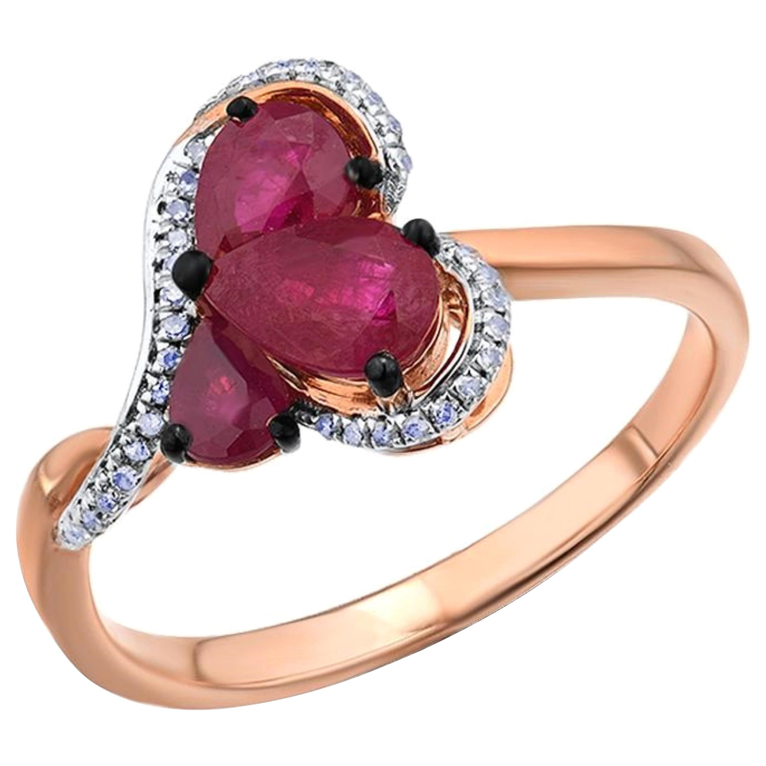 Ruby Diamond Ring 14 Karat Yellow Gold