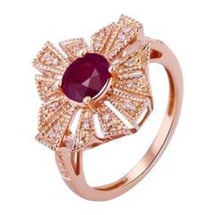 Ruby Diamond Ring 14k Rose Gold
