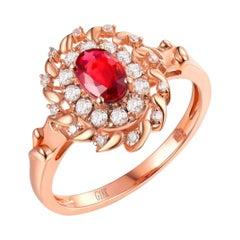 Ruby Diamond Ring 18 Karat Rose Gold