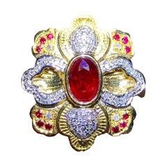 Ruby Diamond Ring 18 Karat Yellow Gold Flower Shape