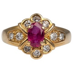 Ruby Diamond Ring 18 Karat Yellow Gold Vintage French Jewelry