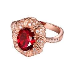 Ruby Diamond Ring 18K Rose Gold