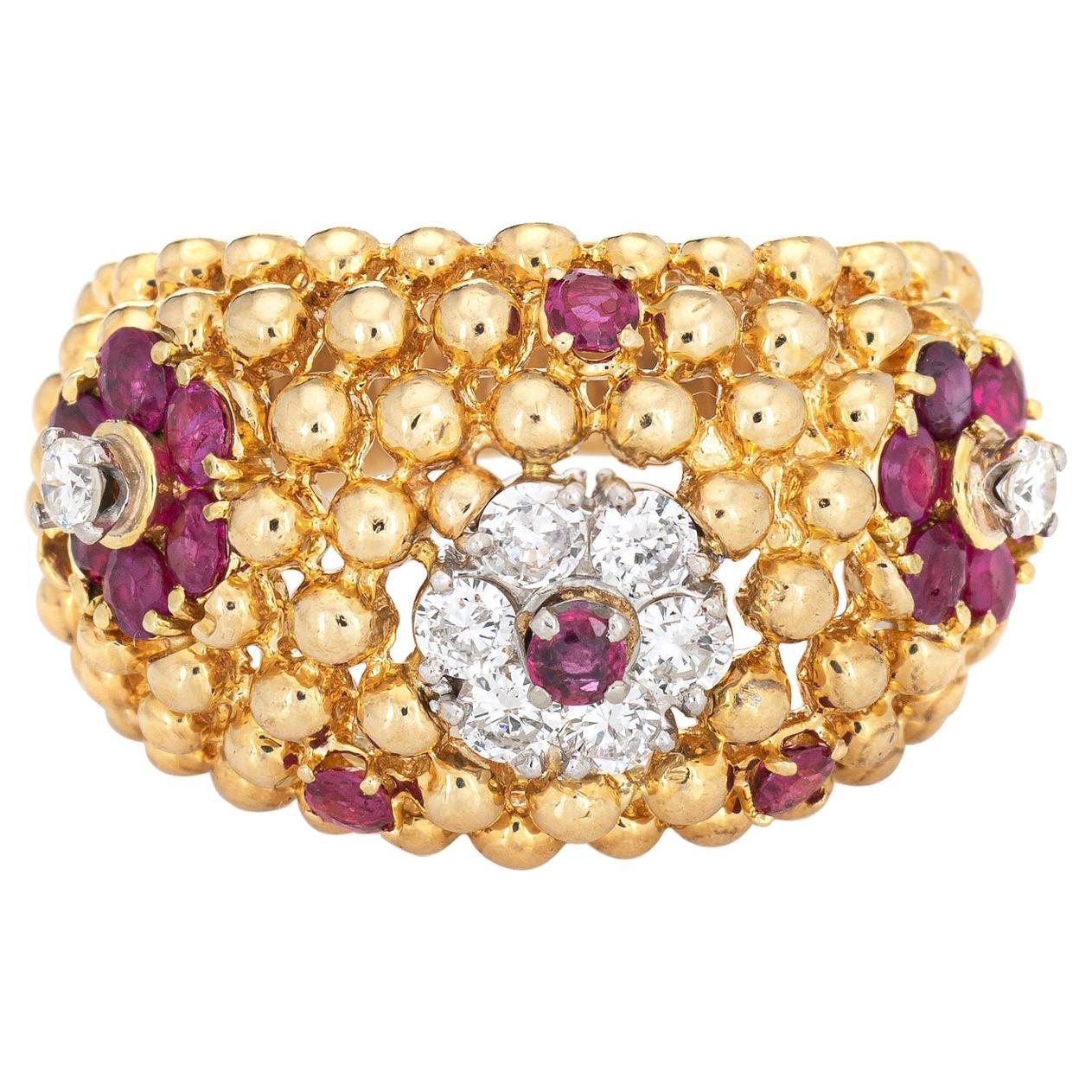 Ruby Diamond Ring Domed Flower 18 Karat Gold Band Vintage Jewelry Estate