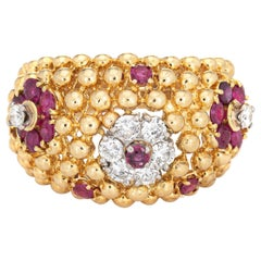 Ruby Diamond Ring Domed Flower 18 Karat Gold Band Vintage Jewelry Estate
