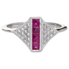 Ruby Diamond Ring Estate 14k White Gold Art Deco Style Jewelry Cocktail