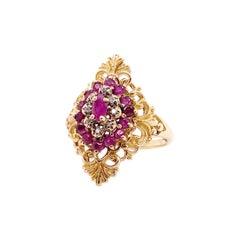 Ruby Diamond Ring, Estate Cluster Ring, Circa 1975