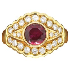 Ruby & Diamond Ring Made in 18k Yellow Gold