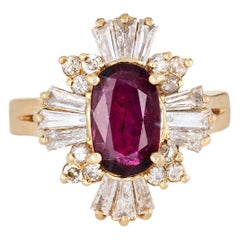 Ruby Diamond Ring Mixed Cuts Vintage 14 Karat Gold Cocktail Jewelry Estate 6