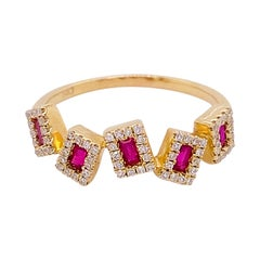 Ruby Diamond Ring, Red Rubies Genuine Natural, Yellow Gold, Stack, Artistic