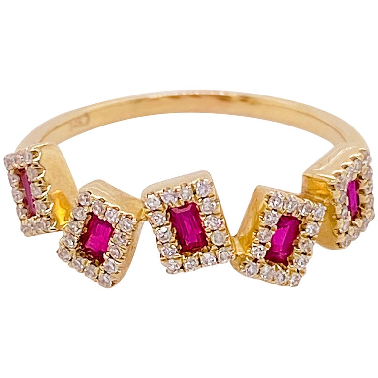 Ruby Diamond Ring, Red Ruby, 14 Karat Yellow Gold, Stack, Artistic For Sale