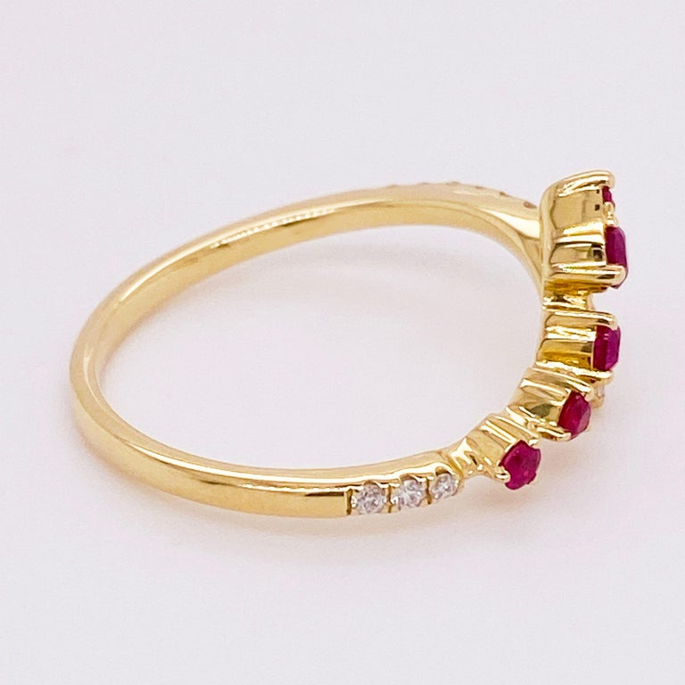 Modern Ruby Diamond Ring, Red Ruby, 14k Yellow Gold, Bypass, Stack, Fashion, Freeform For Sale