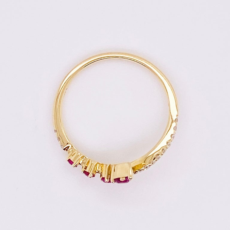 Ruby Diamond Ring, Red Ruby, 14k Yellow Gold, Bypass, Stack, Fashion, Freeform In New Condition For Sale In Austin, TX