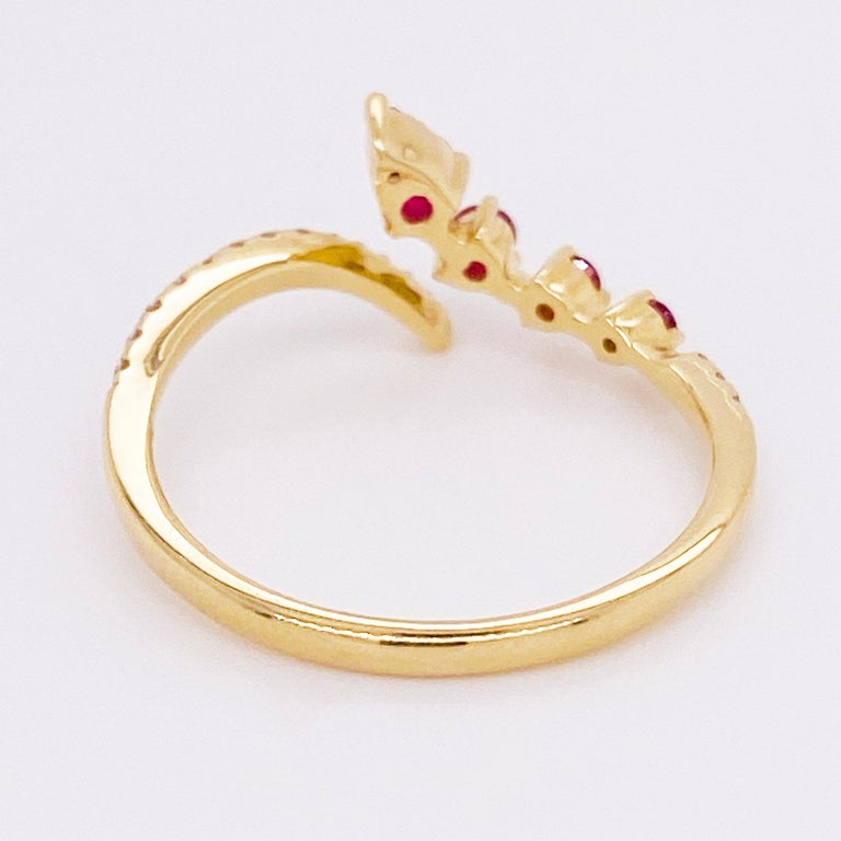 Women's Ruby Diamond Ring, Red Ruby, 14k Yellow Gold, Bypass, Stack, Fashion, Freeform For Sale