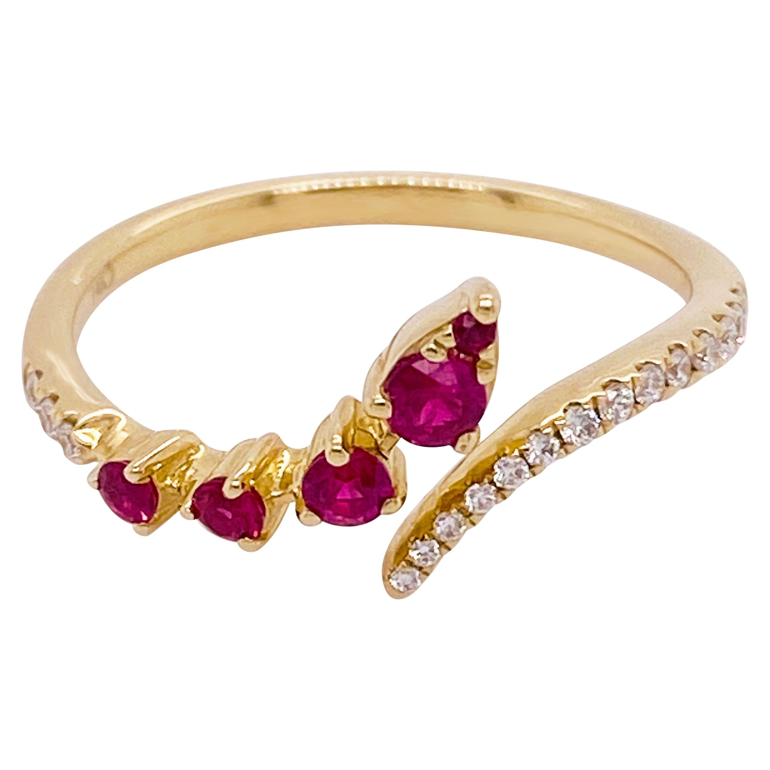 Ruby Diamond Ring, Red Ruby, 14k Yellow Gold, Bypass, Stack, Fashion, Freeform
