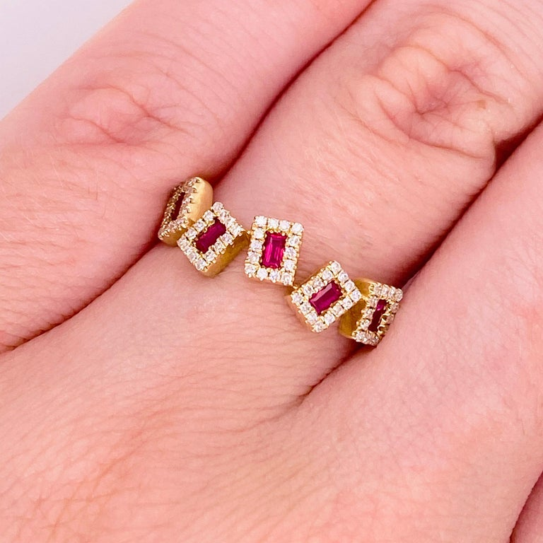 These stunning red rubies surrounded by polished 14k yellow gold and dripping with diamonds provide a look that is very modern! This ring is very fashionable and can add a touch of style to any outfit, yet it is also classy enough to pair easily