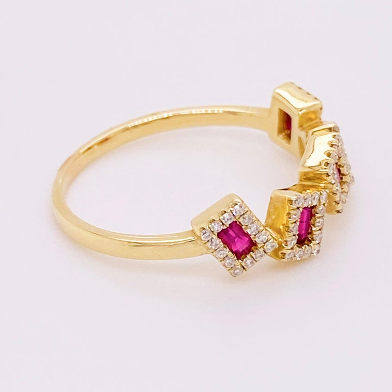 Modern Ruby Diamond Ring, Red Ruby, 14 Karat Yellow Gold, Stack, Artistic For Sale