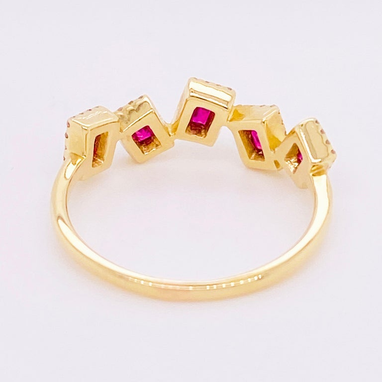 Ruby Diamond Ring, Red Ruby, 14 Karat Yellow Gold, Stack, Artistic In New Condition For Sale In Austin, TX