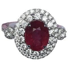 Ruby Diamond Ring Set in 18 Karat White Gold