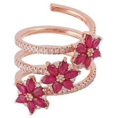Ruby Diamond Ring Studded in 18 Karat Rose Gold