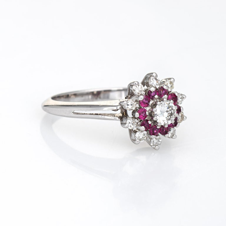 Modern Ruby Diamond Ring Vintage 14k White Gold Round Cluster Jewelry Fine Estate For Sale