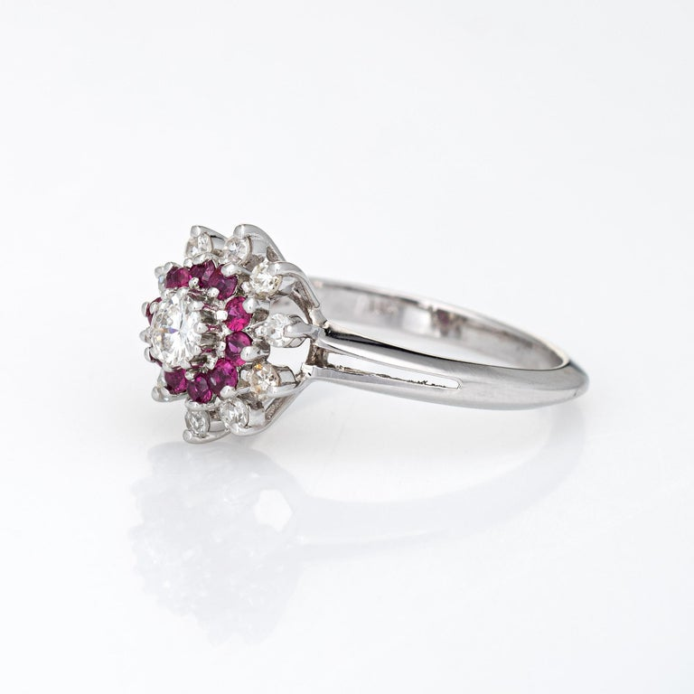 Round Cut Ruby Diamond Ring Vintage 14k White Gold Round Cluster Jewelry Fine Estate For Sale
