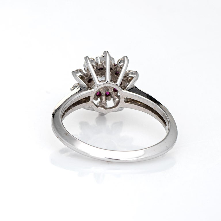 Ruby Diamond Ring Vintage 14k White Gold Round Cluster Jewelry Fine Estate In Good Condition For Sale In Torrance, CA