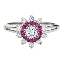 Ruby Diamond Ring Vintage 14k White Gold Round Cluster Jewelry Fine Estate