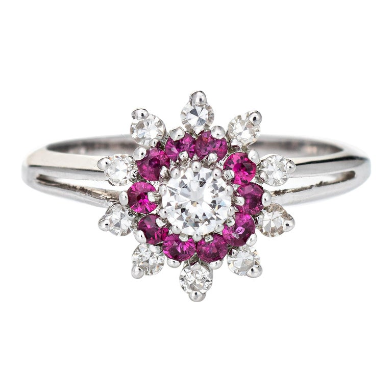 Ruby Diamond Ring Vintage 14k White Gold Round Cluster Jewelry Fine Estate For Sale