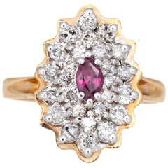 Ruby Diamond Ring Vintage Marquise Cocktail 14k Yellow Gold Estate Fine Jewelry