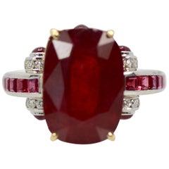 Ruby Diamond Ring with Deco Mount 14 Karat