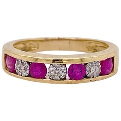 Ruby Diamond Ring, Yellow Gold, Natural Ruby and Diamond Channel Set