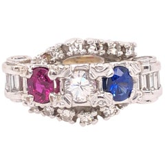 Ruby, Diamond, Sapphire, and White Gold Ring
