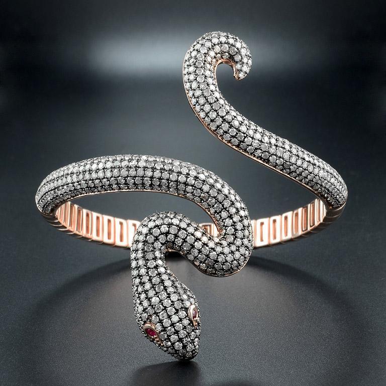 Art Deco Ruby Diamond Snake Rose Gold Bangle Bracelet Cuff For Sale