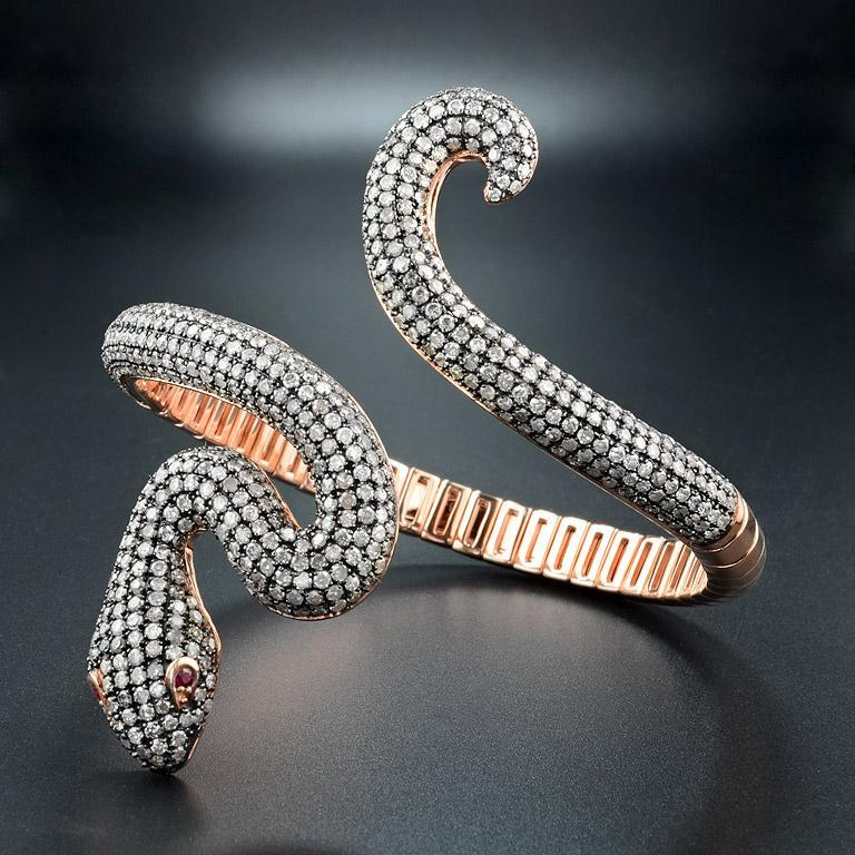 Round Cut Ruby Diamond Snake Rose Gold Bangle Bracelet Cuff For Sale