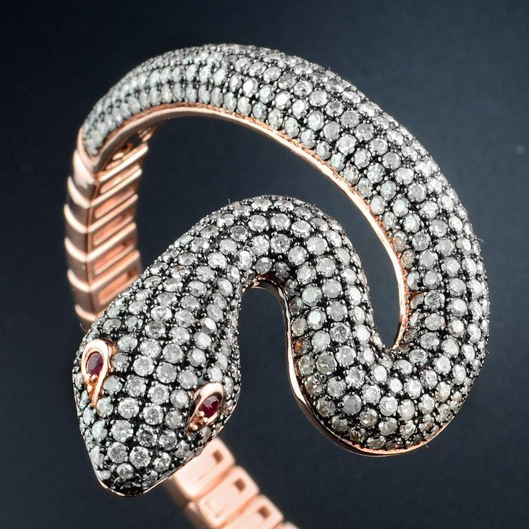 Women's or Men's Ruby Diamond Snake Rose Gold Bangle Bracelet Cuff For Sale