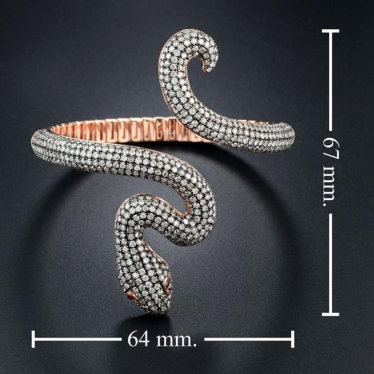 Ruby Diamond Snake Rose Gold Bangle Bracelet Cuff For Sale 1